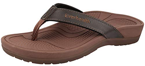 Everhealth Orthotic Sandals Stylish Thong Flip Flops Women Ultra Comfort Slippers with Arch Support for Plantar Fasciitis, Flat Feet & Heel Spur - 40 EU/ 9 US Brown