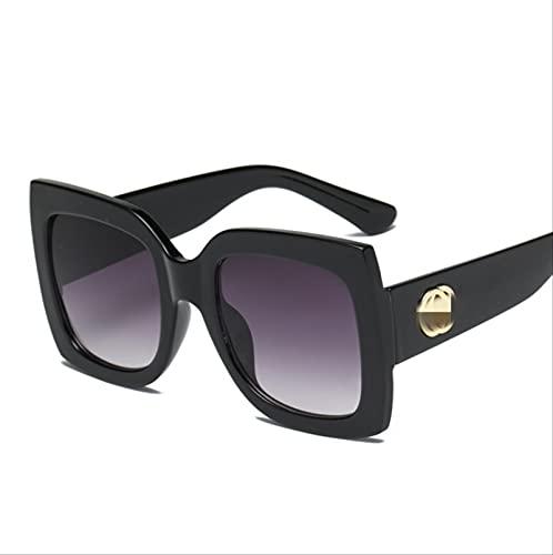 ZHANGMINGXI Gafas De Sol Para Mujer, Gafas De Sol Con Montura Grande De Tres Colores, Protección Uv, Resina, Viajero De Ocio Al Aire Libre Película gris degradada con marco negro