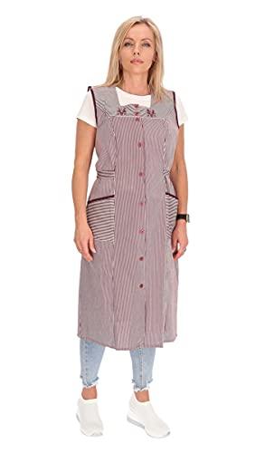 Bata de algodón a rayas para cocina, ropa de casa, delantal burdeos 50