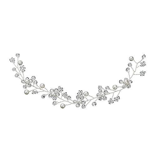 Tiara de novia simple romántica novia hecha a mano con perlas de...