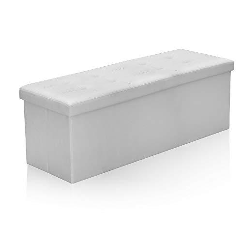 wolketon Faltbarer Sitzhocker Sitzbank mit Stauraum 110 x 38 x 38 cm, belastbar bis 300 kg, 120L, Sitztruhe mit Deckel, Lederimitat Weiß Kinderspielzeug-Box