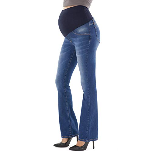 MAMAJEANS Jeans Premaman a Zampa di Elefante, Lavaggio Medio, Modello Deluxe - Made in Italy (42, Medio)