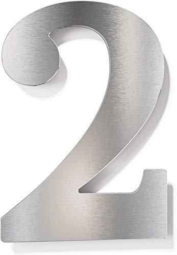 Edelstahl Hausnummer 2 – wetterfest & rostfrei – inkl. Montagematerial – Hausnummernschild – N.22.E