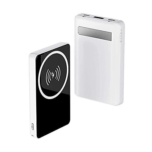 8000 MAH mag-Safe Safe MAGNETAL CARGER Fast CARGER-Power Banco Fuerte LED LED - Salida inalámbrica 10W Mini Cargador rápido portátil, para teléfono 12/12 Mini/Pro/MAX Carga (Color : White)