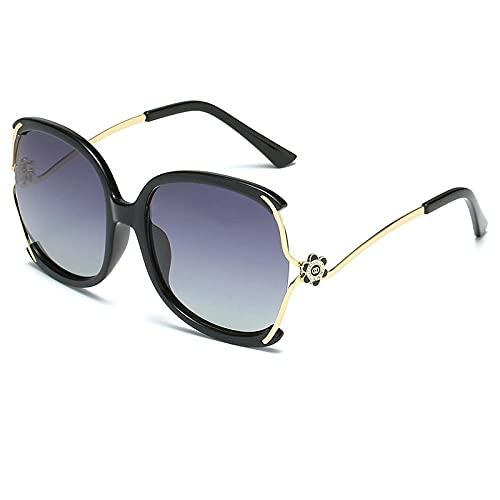 Gafas de sol Gafas de sol de flor de té de montaña femeninas finas gafas de sol Personal Street Tiro de gafas Espejo solar-Color foto_Película negra de marco de oro