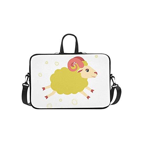 GUJGK Funda para Laptop Lovely Little Lamb Jumped Animal Impermeable Hombro para computadora portátil Bolsa de Mensajero Bolsa Bolsa...