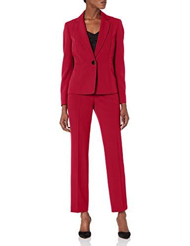 Le Suit Women's Petite 1 Button Notch Collar Crepe Slim Pant Suit, Fire Red, 4P