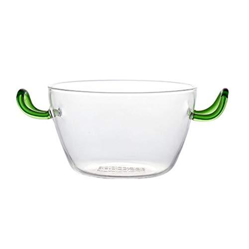 Doble vidrio resistente Orejas de ensalada de fruta creativa de calor Tazón Fiesta vajilla casero sopa de fideos de arroz Tazón con la manija cuenco (Color : Round belly)