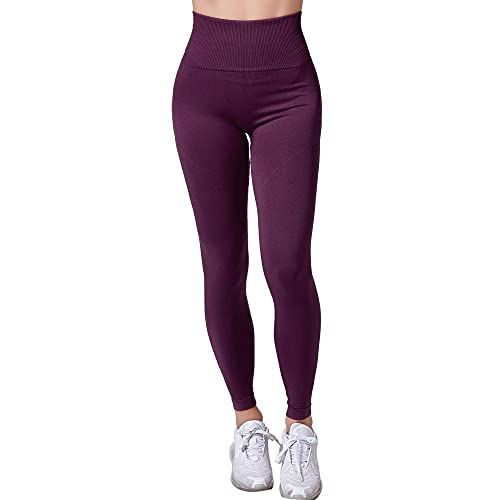 XUNHOU Pantalones de Yoga de Cintura Alta Workout Running,Pantalones de Yoga elásticos y Transpirables,Leggings de Cintura Alta sin costuras-12_M,Pantalones de chándal elásticos Yoga Sport Fitness