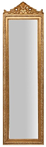 Biscottini Specchio, Specchiera Rettangolare da Terra, con Cornice di Finitura Colore Oro Anticato, Shabby Chic, Bagno, Camera da Letto, L40xPR3xH140 cm. Stile Shabby Chic.