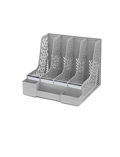 Schreibtischlampe Desktop-Ablagefach Magazin Kunststoff-Ablagetrennung Aktenschränke Schreibtischzubehör Storage Manager (Color : Gray)