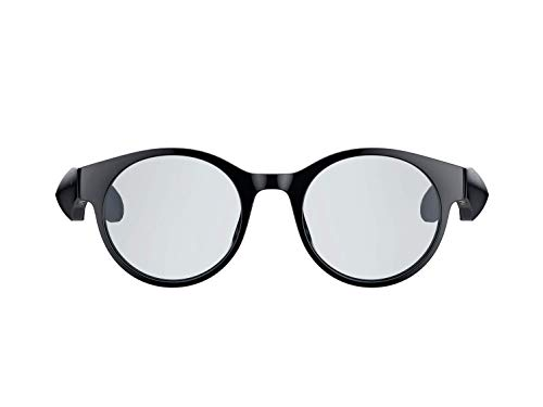 Razer Gafas inteligentes Anzu (gafas redondas, grandes) gafas de audio con luz azul o filtro de protección solar (micrófono, altavoz integrados, batería de 5 horas, a prueba de salpicaduras) negro