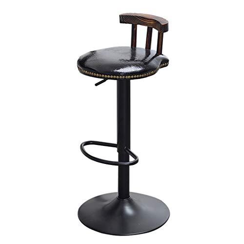 Tabouret de bar Style Industriel Rétro Tabouret De Bar Tabouret De Cuisine En Métal Chaise Ronde Réglable En Hauteur Chaise Pivotante Noir (Réglage: 62-82CM)
