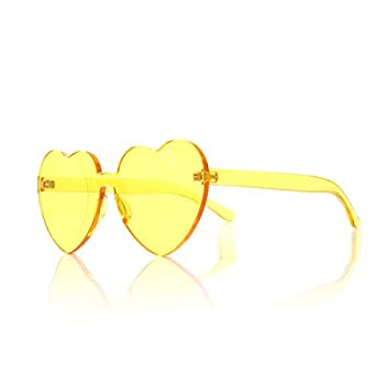 OLINOWL Heart Oversized Rimless Sunglasses One Piece Eyewear Colored Sunglasses for Women Yellow Heart