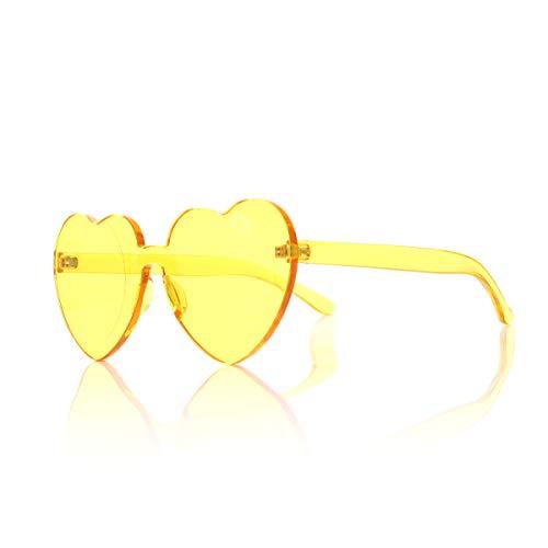 OLINOWL Heart Oversized Rimless Sunglasses One Piece Eyewear Colored Sunglasses for Women Yellow, Heart