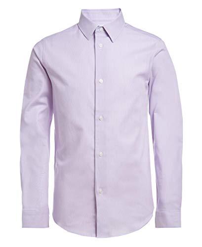 Calvin Klein Boys' Big Long Sleeve Dress Shirt, Style with Buttoned Cuffs, Medium Purple, 14