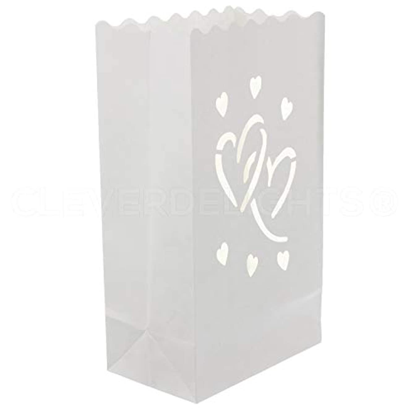 CleverDelights White Luminary Bags - 20 Count - Interlocking Hearts Design - Wedding, Reception, Party and Event Decor - Flame Resistant Paper - Luminaria