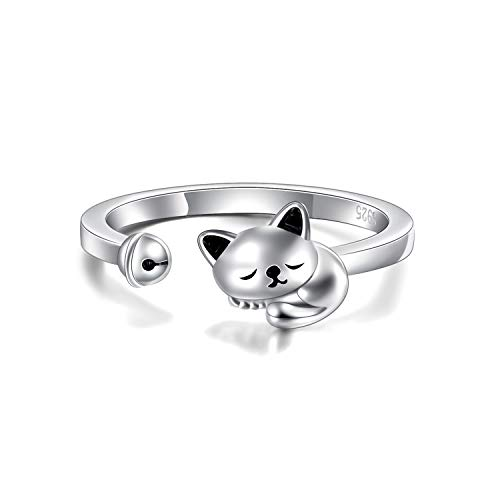YFN Cat Ring 925 Sterling Silver Cute Cat Wrap Rings Adjustable Bands Gifts for Cat Lover Stacking Animal Rings