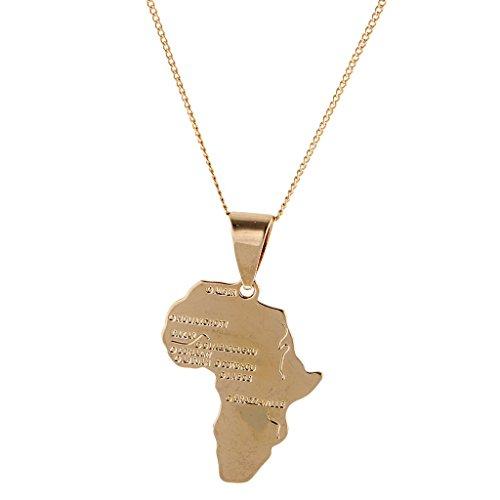 Collar de mapa de África chapado en oro de 18 quilates, cadena colgante de país, joyería de Hip Hop