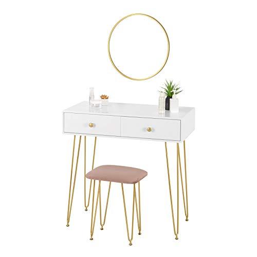 eSituro SDT0047 Schminktisch mit Hocker Spiegel, Kosmetiktisch 2 Schubladen für Schlafzimmer, Frisiertisch Schreibtisch aus MDF und Massivholz, 80x40x77,5cm, Weiß+Golden