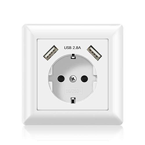 Jindia Schuko Enchufe para la pared con 2 puertos de carga USB, toma USB Sockets de pared blancos (2.8A 1 Pack)