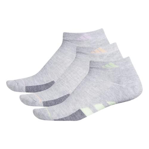 adidas Women's Cushioned Low Cut Socks (3-Pair), Cool Light Heather/Glow Green/Grey Heather/Glow Pi, Medium, (Shoe Size 5-10)