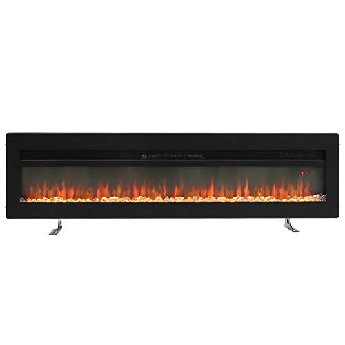 FIDOOVIVIA Electric Fireplace Wall recessed Wall Mounted Freestanding 3 in 1 with 9 Flame Colour Effect, Manual Switches & Remote Control, 900W/1800W, 60 Inch Black