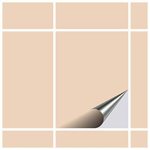 FoLIESEN Fliesenaufkleber 15x20 cm - Fliesen-Folie Bad - Klebefolie Küche - 60 Klebefliesen, Elfenbein glänzend
