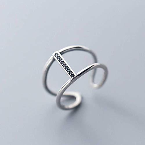 TYERY Anillo de Plata S925, Joyería de Anillo de Diamante Negro de Doble Capa con Personalidad Femeninaanillo de plata s925
