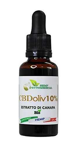 CBDOliv 10% Olio di Canapa bio (3000mg) Prodotto 100% Naturale Formato Scorta da 30 ml Made in Italy
