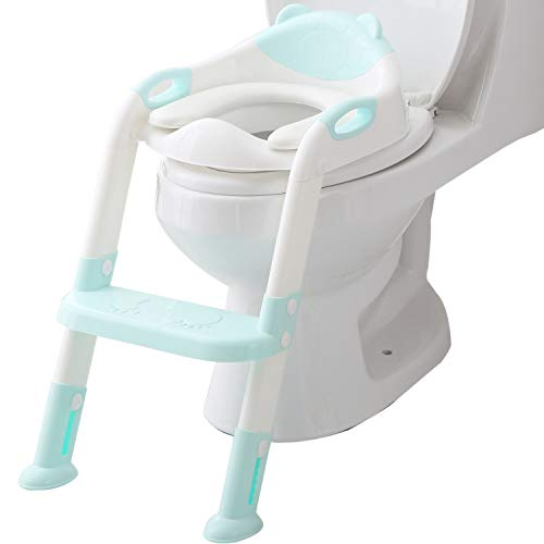 Potty Training Seat Ladder Toddler,Potty Seat Toilet Boys Girls,Kids Toilet Training Seat Step (Blue)