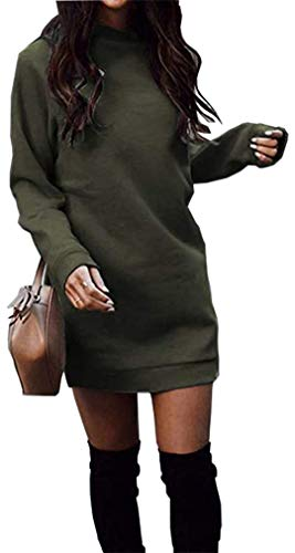 Miselon Women's Long Sleeve Mini Sweater Dresses Casual Pullover Sweatshirt Dresses (Army Green, Medium)