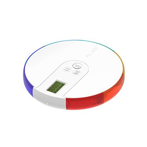 NICEXMAS - Pastillero electrónico portátil con Temporizador y Alarma con Fecha y recordatorio de Pastillero Inteligente