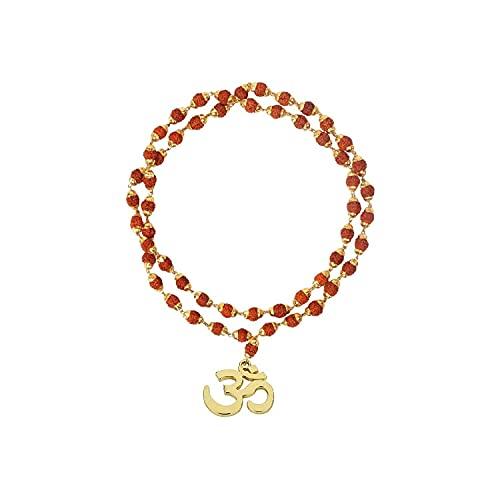 Colgante de latón para mujer con tapa Rudraksha Mala (color marrón y dorado)