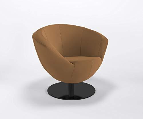 Marbet Style clubstoel ONLY Plus S vlakke voet barstoel bureaustoel kunstleren bekleding Valencia V0002 - Cognac