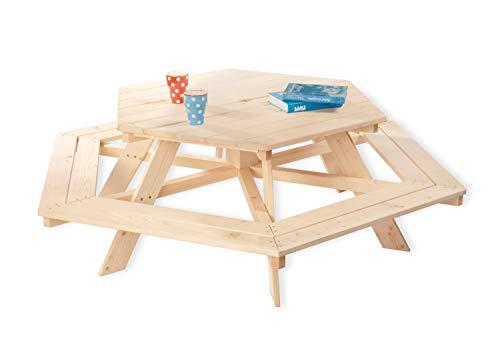 Pinolino 201038 Kindersitzgarnitur Nicki 6-Eck, aus massivem Holz, 6 Bänke mit 1 Tisch, empfohlen für Kinder ab 2 Jahren, natur
