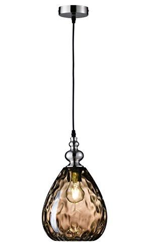 Fischer & Honsel Uller 69565 - Lámpara de techo colgante (1 bombilla E27, máx. 40 W, 20 x 20 x 140 cm), color níquel