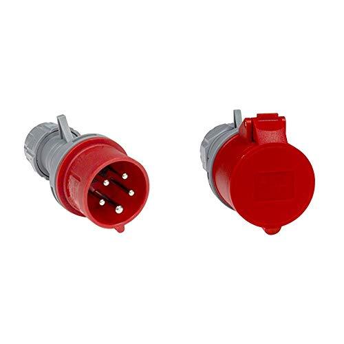 as - Schwabe 60460 CEE-Stecker mit Phasenwender, 16 A, 400 V Starkstrom Stecker & - Schwabe 60425 CEE-Kupplung, 16 A, 5-polig, 6h, 400 V Starkstrom Kupplung