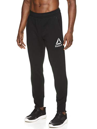 Reebok Men's Jogger Running Pants with Pockets - Athletic Workout Training & Gym Sweatpants - No Breaks Core Black, Large