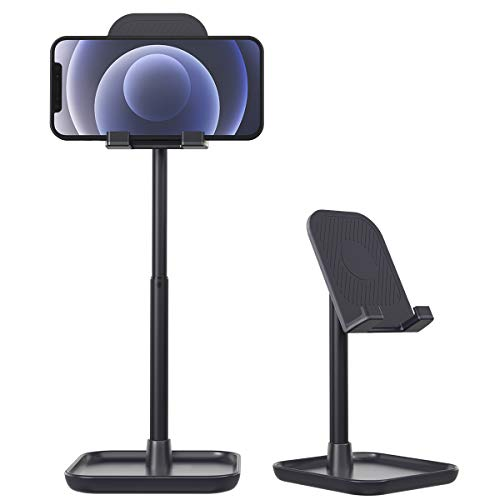Licheers Cell Phone Stand, Height Angle Adjustable Phone Holder for Desk Tablet Stand Compatible with iPhone 13/12/11 Pro Max, Samsung Galaxy S10 S9 S8 S7 Note10, Google Pixel,Kindle,Switch (Blue)