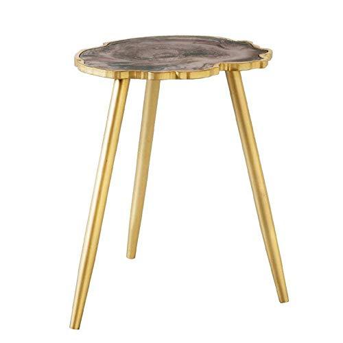 Nueva mesa auxiliar, mesas Mesa de centro de ágata de imitación de tres patas, mesa auxiliar con forma, patas de madera maciza, color de la mesa de centro: oro, tamaño: 19.6814.5624.40in (color: dorad