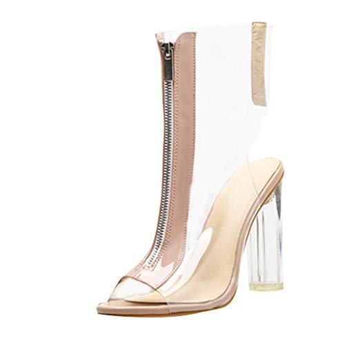 Bottines Transparentes à Talons,OveDose Sandales Été Mode Femme Chaussures Talon éPais Chic Brides Cheville Cuir Sexy Sandales Talons Hauts Peep Toe High Heels