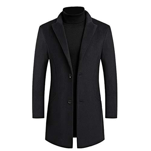 Floweworld Herren Wolljacke Wintermode Warme Windjacke Slim-Fit Anzug Jacken Reine Farbe Business Mantel Lässig Mantel Outwear