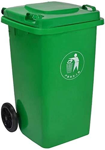 Vuilnisemmer grote vuilnisbak 100 liter verdikte plastic vuilnisemmer met deksel Street Park vuilnisbak op wielen voor buiten (kleur: blauw maat: 100 l) 100 liter, groen