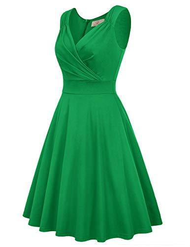 GRACE KARIN Petticoat Kleider Weihnachten Swing Kleid grün Vintage Kleider festlich Rockabilly Kleid CL698-4 M