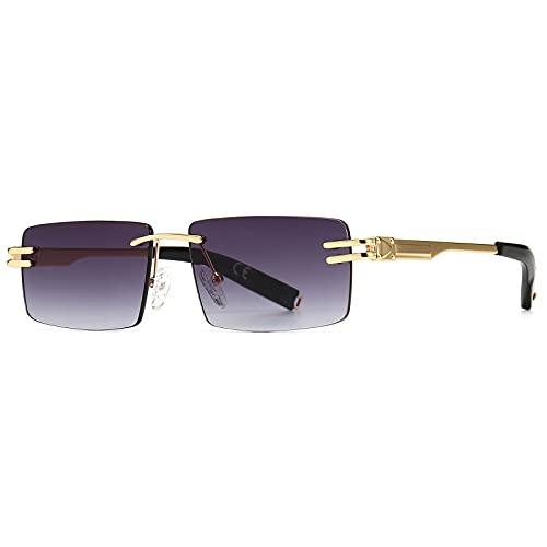 SHEEN KELLY Retro randlose Sonnenbrille für Männer Frauen Rechteck Ultra-Small Frame Sonnenbrille Durchsichtige Brille