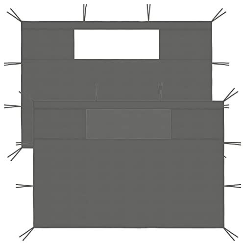 vidaXL 2X Pavillon Seitenwand mit Fenstern Seitenteil Seitenplane Seitenwände Zeltplane für Partyzelt Gartenzelt Festzelt Pergola Anthrazit 70g/m²