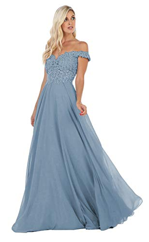 Women's Off The Shoulder Bridesmaid Dress Long Lace Prom Gown Formal Evening Party A-Line Skirt (Dusty Blue-6)