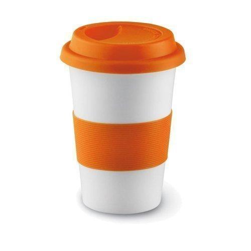 eBuyGB 14oz Ceramic Takeaway Travel Mug with Silicone Lid (Orange)