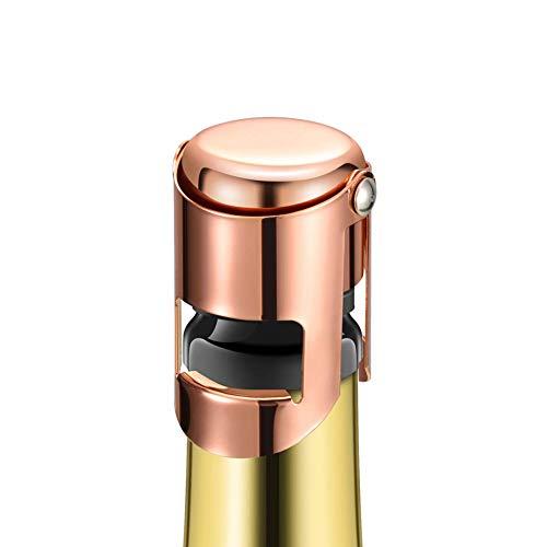 Champagnerflaschenverschluss, roségoldener Edelstahl, Sektversiegelung, wiederverwendbar, für Champagner, Cava, Prosecco und Sekt 1 Stück